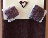Hand Dyed Fat Eighth in MULBERRY with Coordinating Threads and Heart Button