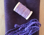 Hand Dyed Fat Eighth in Grape with Coordinating Thread and Hand Dyed Rickrack