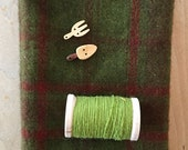 Hand Dyed Fat Eighth FOREST GREEN Plaid with Coordinating Thread and Gardening Buttons