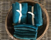 Hand Dyed Wool Bundle in DARK TEAL GREEN for Rug Hooking, Rug Braiding, Wool Quilts and Wool Applique