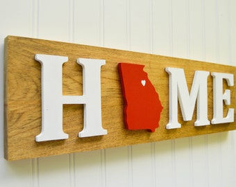 """Georgia Bulldogs """"State Heart"""" Home Sign - Handcrafted wood with official team colors"""