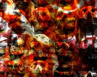 Tzompantli (Skull Rack)- Calligraphy- Giclée print