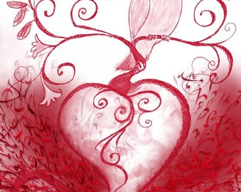 Hummingbird on a heart. Signed limited edition. For bird lovers, a gift for bird enthusiasts.