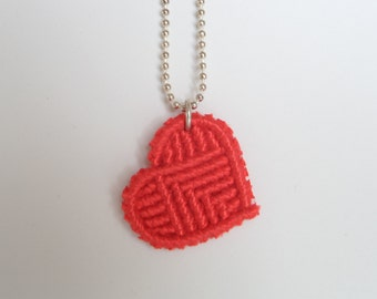 necklace with red macrame heart, knotted red heart pendant on silver fashion jewelry necklace, valentines day gift for her