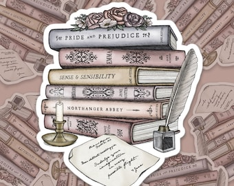 Jane Austen Book Collection   Letter From Jane   Bubble-free stickers
