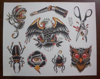 Traditional Tattoo Flash Etsy