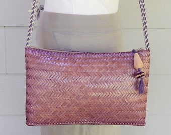 Lavender Woven Straw Shoulder Purse, Genie