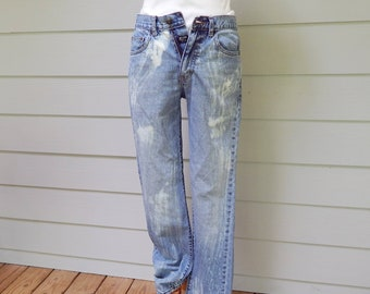 1f0a6ae8c635d6 Bleached Denim Jeans, Chaps Straight Fit, Size 30/32