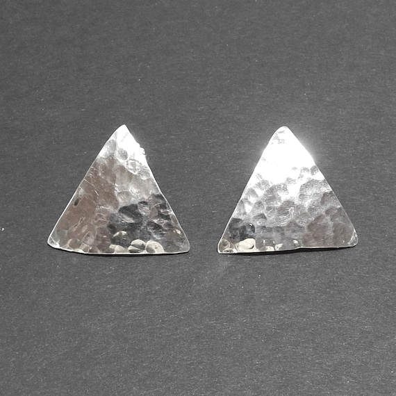 243400973 Sterling Silver Triangle Post Earrings Taxco Mexico | Etsy