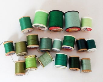 Sewing Thread, Mixed Lot of 22 Spools, Green