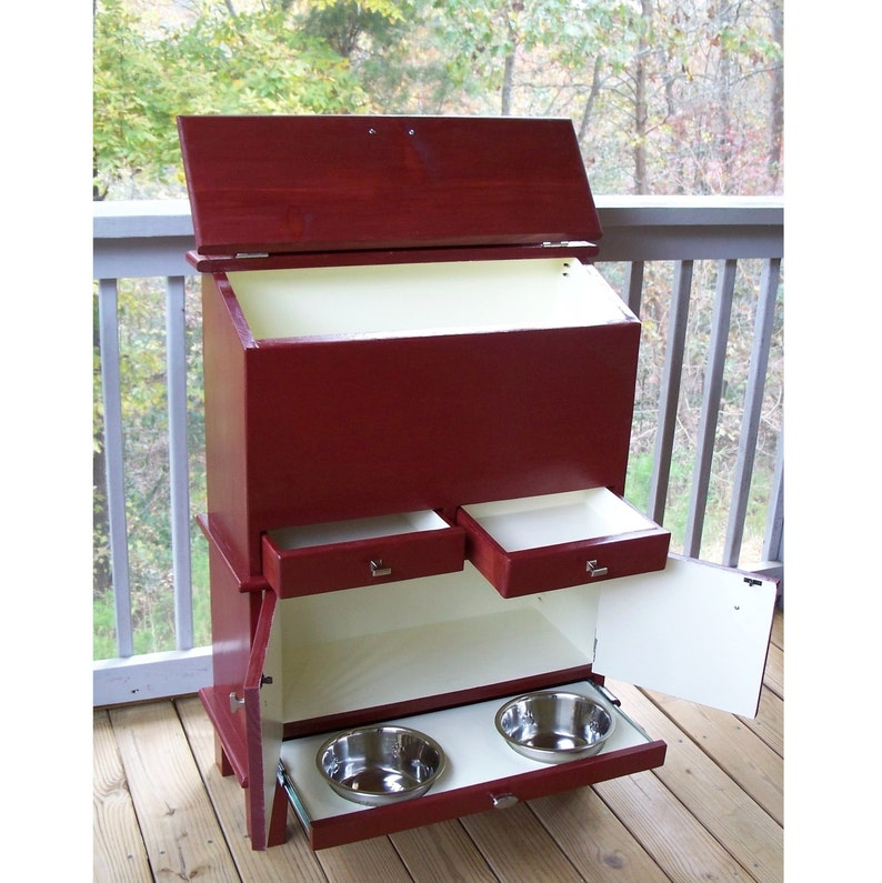 with 2 Drawers Medium 2 Door Cabnet and 2 Bowl Pull-Out Shelf Pet Food Pantry
