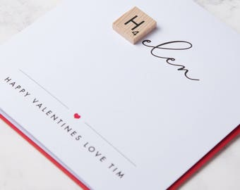 Scrabble Love Valentines Name Card / Him / Her / Wife / Husband / Girlfriend / Boyfriend / Handmade / Valentines / Love