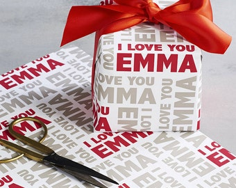 Name Wrapping Paper Personalised with I LOVE YOU | Love you Wrapping Paper | Personalised Gift Wrap | Your Name on your Wrapping Paper