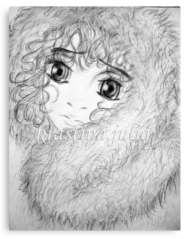 Pencil drawing little girl big eyes character illustration child baby kid art grafics homedecor walldecor original traditionalart