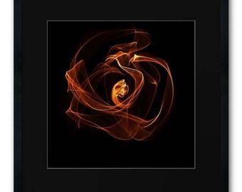 Fine Art Print burningArt fire lightwaves flower Spiritual Light Shine Originalart abstractart Modernart contemporaryart Homedecor Walldecor
