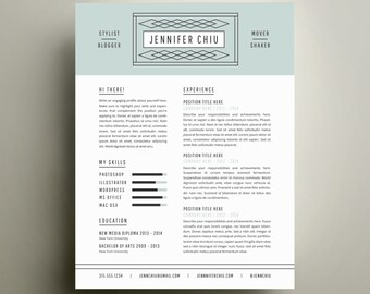 creative resume template and cover letter template for word diy printable resume the jennifer modern and professional design