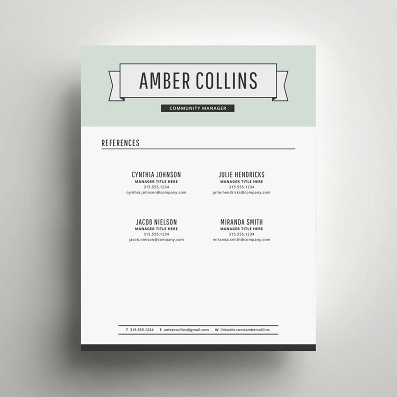 The Amber DIY Printable Resume 4 Pack Modern Resume Template and Cover Letter Template for Word Includes Second Page and References