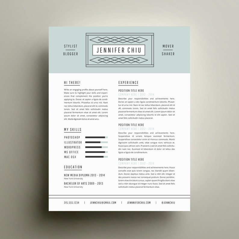 Creative Resume Template And Cover Letter For Word
