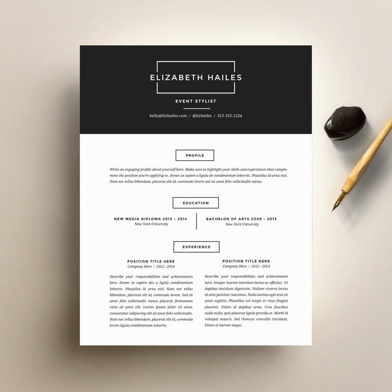 Resume Template And Cover Letter For Word DIY