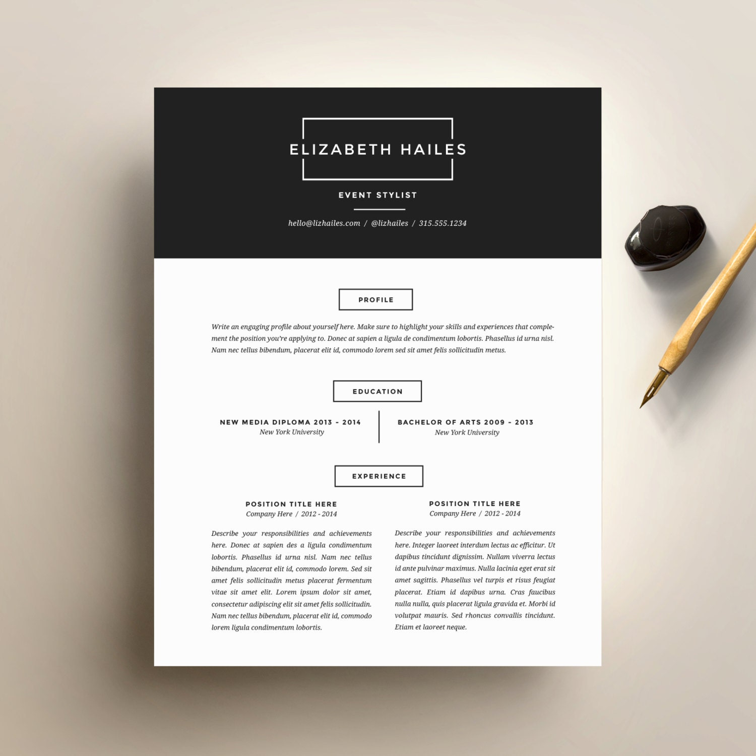 Resume Template And Cover Letter Template For Word Diy Etsy
