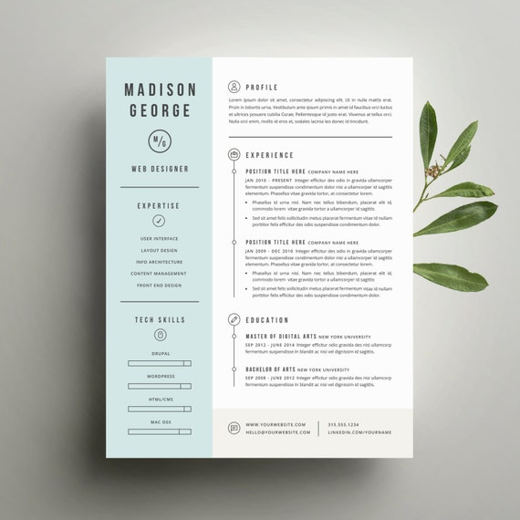 Modern resume template and cover letter template for word etsy image 0 maxwellsz