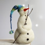 Needle Felted Snowman - Dreamy White Snowman - Christmas Home Decoration - Winter Decor - Snowman With Nightcap - Needle Felted Christmas