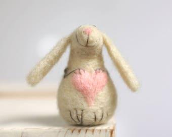 Needle Felted Bunny - Needle Felt Animal - White Rabbit With A Pink Heart - Art Doll Miniature - Blush Pink - Wool - Handmade - Gift Idea
