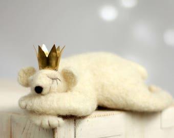 Needle Felted Withe Bear - Needle Felted Animals - Prince Bear - Mother's Day Gift - Art Doll - Polar Bear - Home Decor - Wool - Handmade