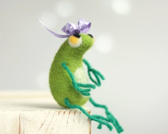 Needle Felted Frog - A Little Green Frog With A Purple Ribbon - Spring Home Decor - Needle Felt Animals - Felted Baby Frog - Fiber Art Doll