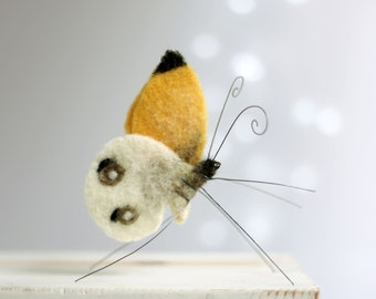 Needle Felted Butterfly-  Needle Felt Animals - Yellow Butterfly - Spring Home Decor - Wool - Handmade - Art Doll - Gift Idea - Fiber Art