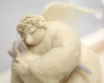 Needle Felted Angel - Dreamy Angel With A White Cat - Gift Idea - Felted Art Doll - Home Decor - Guardian Angel - Cupid Angel - Handmade