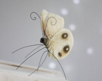 Needle Felted Butterfly - Needle Felt Animals - Needle Felt White Butterfly - Handmade - White - Boho - Wool - Art Doll - Gift Idea