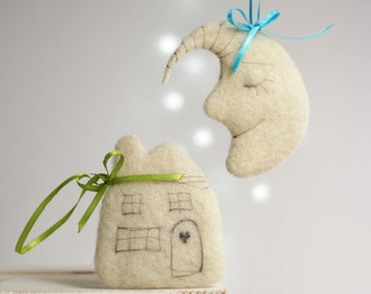 Needle Felted Sweet Dreams Ornaments Set - Little Moon And Cortege - Ornaments For Baby Room Decor - Felted Christmas Ornaments