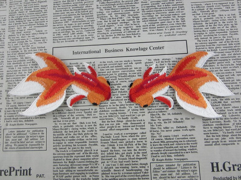 Goldfish embroidered applique iron on patch etsy