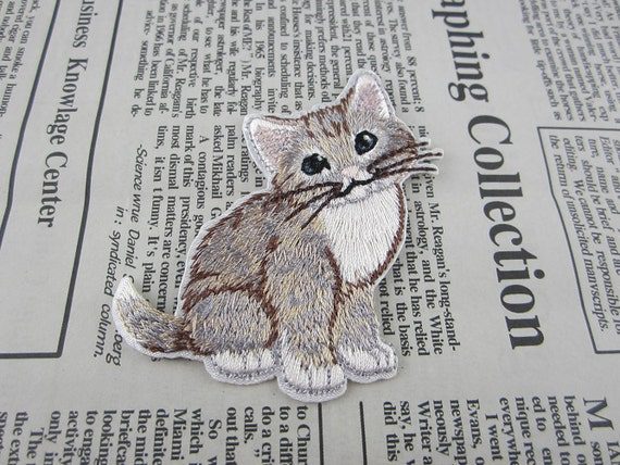 Grey cat embroidered applique iron on patch etsy