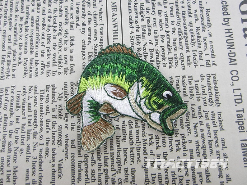 Green fish embroidered applique iron on patch etsy