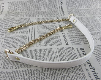 White Synthetic Leather Bag Purse Strap with Gold Chain