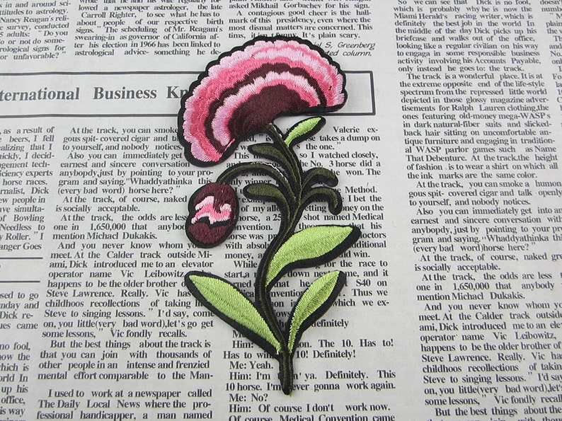 Embroidered flower applique iron on patch etsy