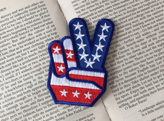 Us flag iron on patch victory applique etsy