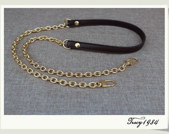 Dark Chocolate Brown PU Leather Purse Strap with Gold Chain
