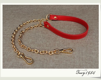 Red PU Leather Bag Purse Strap with Gold Chain