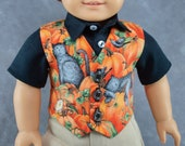 Fall Vest for 18 quot Boy Dolls. Black cats, pumpkin patch Halloween 3 button waistcoat. Made to fit American Girl Boy dolls.
