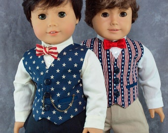 "Patriotic Vest for 18"" boy dolls. Your choice of Stars or Stripes, bow tie optional. 3 button waistcoat w/ 2 pockets. 4th of July clothes."