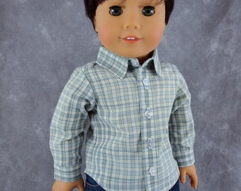 "Dress Shirt for 18"" boy dolls.  Plaid sage green, white & pale blue.  Long sleeve, button down shirt w/ collar. Fits American Girl Boy Dolls"