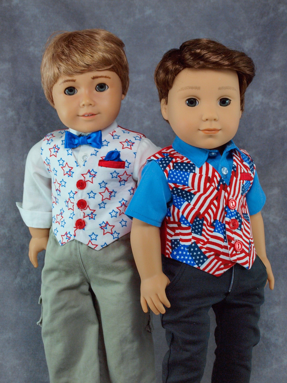 "Patriotic Red-White-Blue Stars /& Stripes Holidays for 18/"" Journey Girl Dolls"