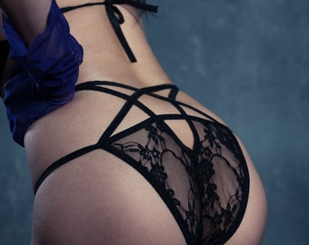 b9fdb6e9a06351 Lace Pentagram Panty Occult Goth Panties Sexy Harness Undies Vampire  Underwear Inverted Black Star Transparent Lingerie Kinky Wiccan Bottom