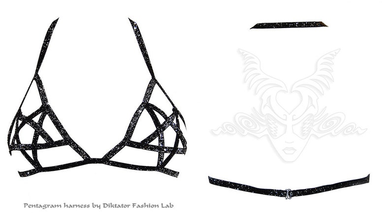Pentagram Harness Bra Goth Fetish Lingerie Burlesque Cage Top Pentacle Glitter 666 Occult Satanic Vamp Heavy Metal Clothing Peekaboo