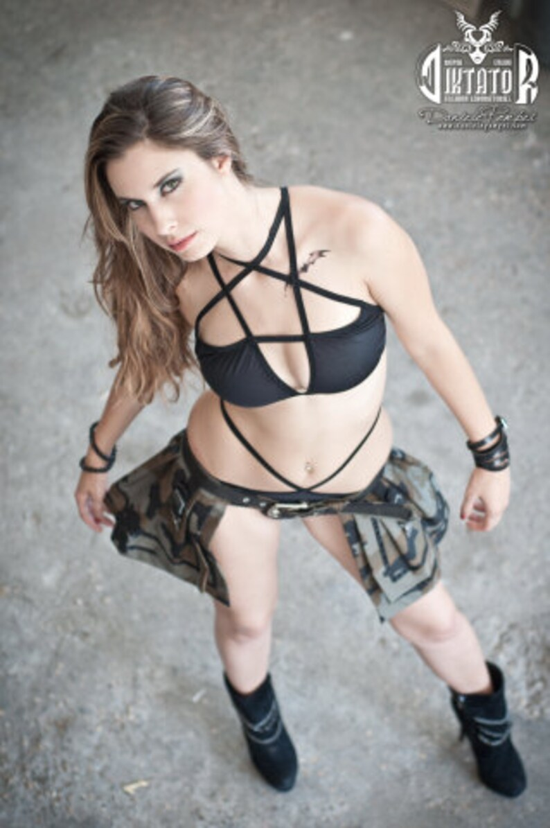 44d4564ffa Pentagram Bikini Top Heavy Metal Bralette Satanic Swimsuit Bra | Etsy