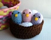 Baby Birds, SET OF 3 Pastel Easter Chicks, Handmade Toddler Toy, Crochet Birds Nest, Nesting Toys, Spring Table Centerpiece