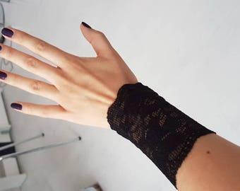 Black Wrist Tattoo Covers Black Wrist Cuff Lace Wrist Tattoo Etsy